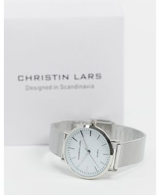 Christin Lars slim watch in silver with white dial