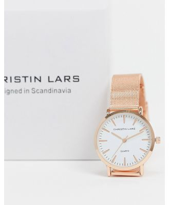 Christin Lars slim watch with rose gold dial