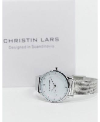 Christin Lars slimline watch in silver with white dial
