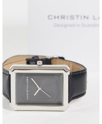 Christin Lars womens black strap watch with rectangular dial-Silver