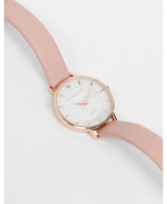 Christin Lars womens pink leather watch with white dial-Gold