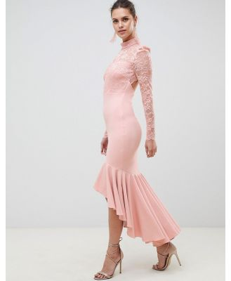 City Goddess Bridesmaid Long Sleeve High Neck Fishtail Maxi Dress With Lace Detail - Pink