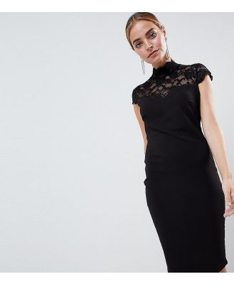 City Goddess Petite Open Back Midi Dress With Lace Insert - Black