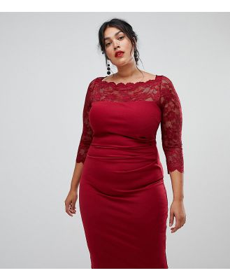 City Goddess Plus long sleeve lace pencil dress - Red