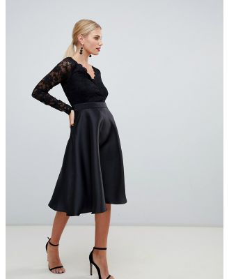 City Goddess prom dress with lace sleeves-Black