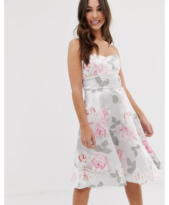 City Goddess Prom Floral Skater Dress - Grey