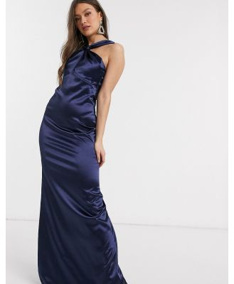 City Goddess satin cowl neck maxi dress-Navy
