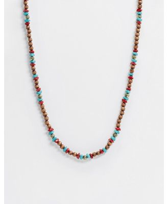 Classics 77 beaded necklace in brown with gold charms