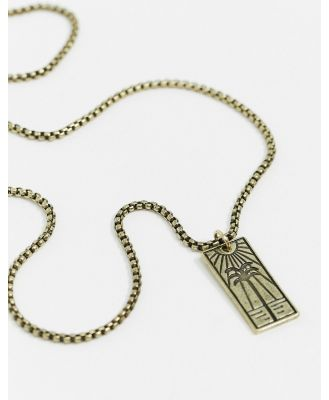 Classics 77 neckchain in gold with rectangular palm tree pendant