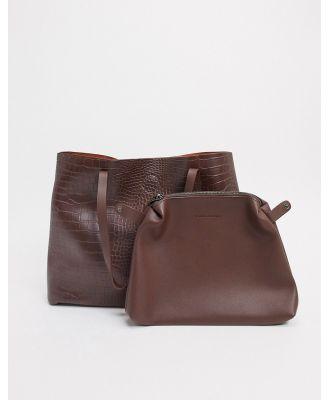 Claudia Canova unlined tote bag in brown croc