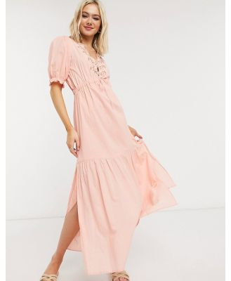 Cleobella hannah midi dress with embroidered in peony-Pink