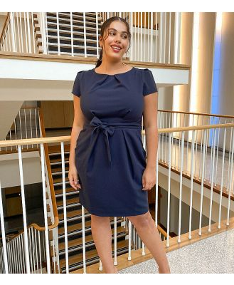 Closet London Plus cap sleeve wiggle dress in navy
