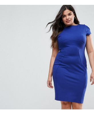 Closet London Plus Pencil Dress With Ruched Cap Sleeve-Blue