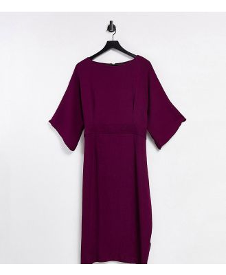 Closet London Plus ribbed pencil dress in plum-Purple