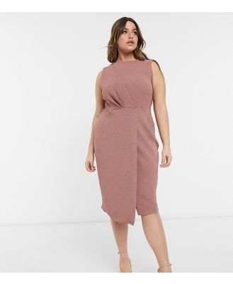 Closet London Plus wrap detail pencil dress in deep winter rose-Pink