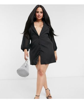 Club L London Plus plunge front blazer dress with sheer sleeve detail in black