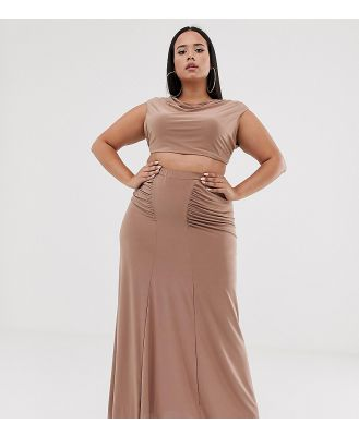 Club L London Plus ruched detail slinky maxi skirt in camel-Tan