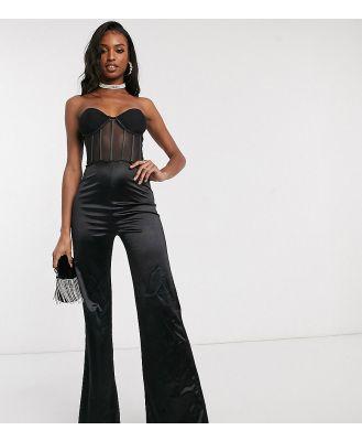 Club L London Tall corset detail jumpsuit in black