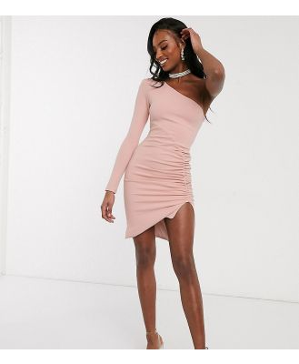 Club L London Tall one shoulder ruched side mini dress in pink