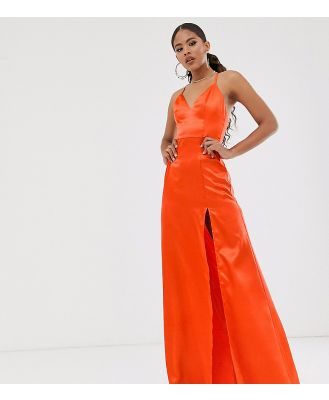Club L London Tall satin plunge front maxi dress with high thigh split in orange