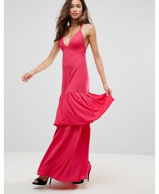 Club L Plunge Neck Ruffle Layer Detail Maxi Dress-Red