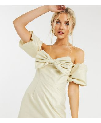 Collective The Label exclusive balloon sleeve mini dress with bow in champagne-White