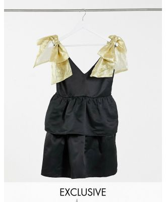 Collective the Label exclusive mini smock dress with organza bow shoulders in black