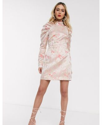 Collective The Label puff sleeve mini dress in pink jacquard