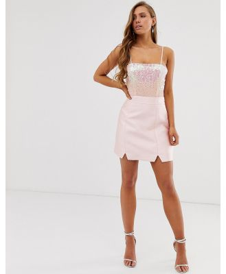 Collective The Label tailored a line skirt in pink sateen