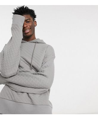 COLLUSION oversized quilted hoodie in grey