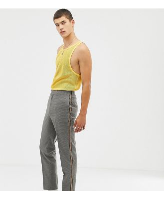 COLLUSION Tall tapered check pant with side stripe-Brown