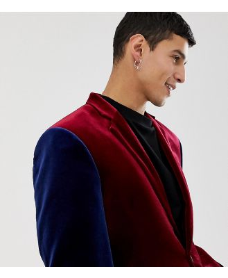 COLLUSION velvet blazer in burgundy with contrast sleeves-Red