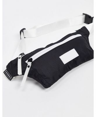 Consigned bumbag in black with white trims