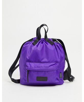 Consigned small drawstring backpack in purple ripstop