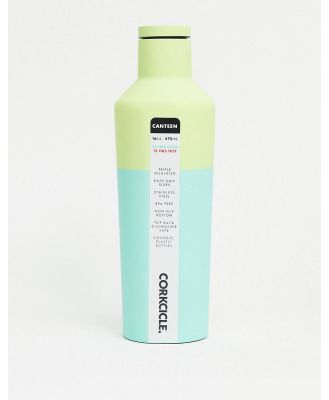 Corkcicle soft-touch 475ml water bottle in colour block green-No Colour