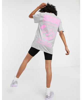 Crooked Tongues oversized t-shirt with dog hotline graphic in grey marl