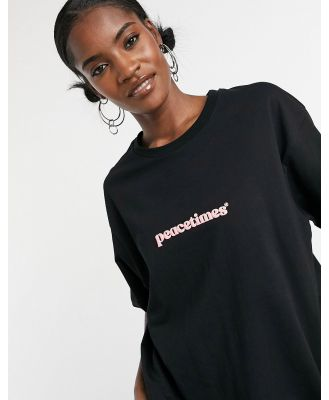 Crooked Tongues oversized t-shirt with peacetimes graphic-Black