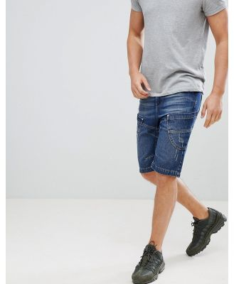 Crosshatch Dark Wash Panelled Denim Shorts - Navy