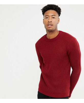 D-Struct TALL Chunky Waffle Knit Jumper-Red