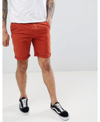 D-Struct Turn Up Chino Shorts-Red