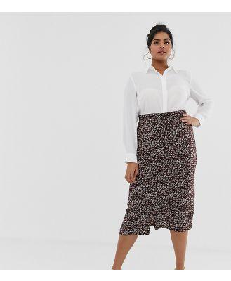 Daisy Street Plus button through mini skirt in floral print-Brown