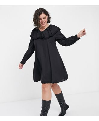 Daisy Street Plus long sleeve mini smock dress with collar and lace trim in poplin-Black