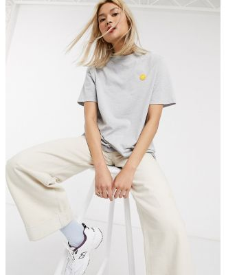 Damson Madder relaxed t-shirt with contrast crinkle sleeves and embroidered logo-Grey