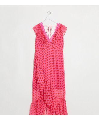 Dark Pink Plus plunge wrap maxi dress in pink red polka dot
