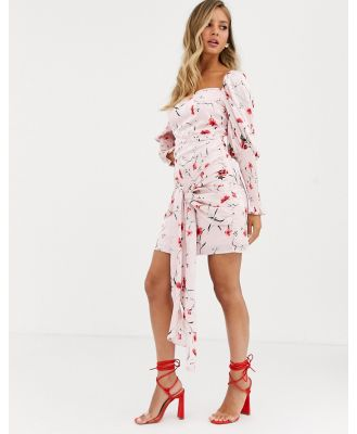 Dark Pink shirred sleeve mini dress with wrap front detail in pink floral
