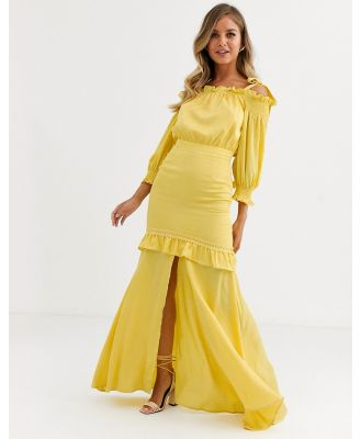 Dark Pink tiered maxi dress with shoulder detail in golden yellow