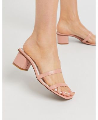 Depp double strap square toe mule sandals in pink leather