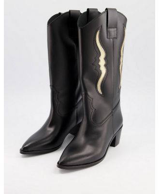 Depp knee high western boots in black leather