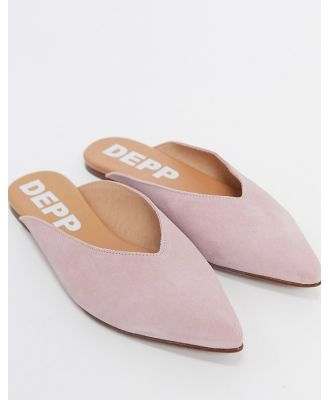 Depp leather high vamp mules in pink