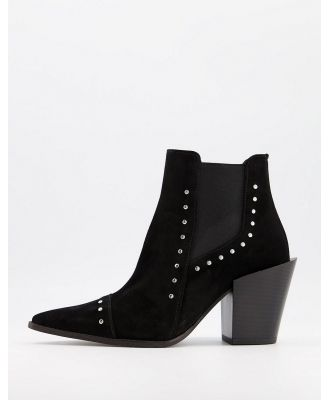 Depp studded western boots in black suede